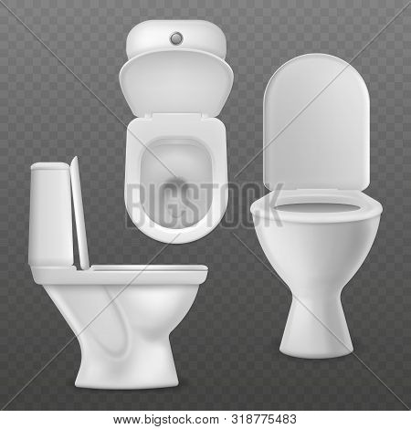 Realistic Toilet Bowl. White Toilet Basin, Clean Lavatory Bathroom Ceramic Bowls Group Top, Side And