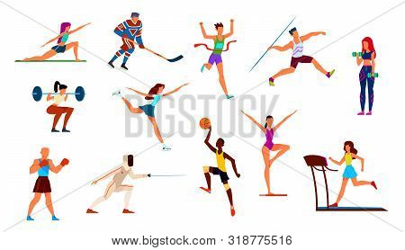 Athletes Set. Gymnast And Runner, Boxer And Figure Skater, Basketball Player And Hockey Player. Fitn