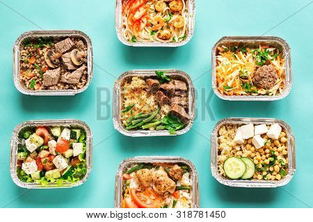 Healthy Food Delivery. Take Away Of Organic Daily Meal On Blue, Copy Space. Clean Eating Concept, He