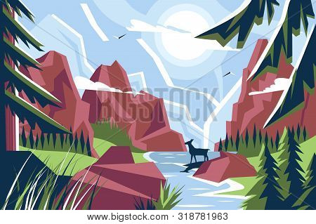 Picturesque Mountain Landscape Vector Illustration. Wonderful Natural
