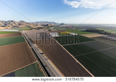 Aerial view of farm fields, South Lewis Road and the Santa Monica Mountains near Camarillo in beautiful Ventura County, California.