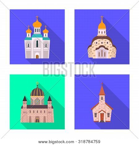 Vector Illustration Of Cult And Temple Icon. Set Of Cult And Parish Vector Icon For Stock.