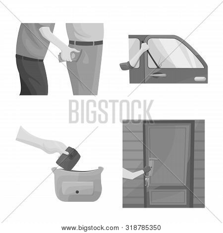Vector Illustration Of Pickpocket And Fraud Logo. Collection Of Pickpocket And Steal Stock Vector Il