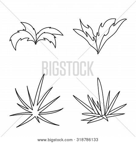 Vector Illustration Of Hedge And Shrub Sign. Set Of Hedge And Floral Stock Symbol For Web.