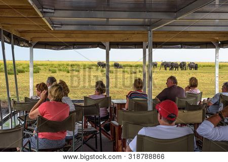 Chobe National Park, Botswana - April 7, 2019 : Tourists In A Boat Observe Elephants In Their Natura