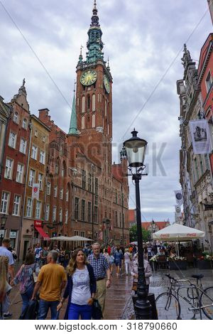 Gdansk, Pomerania Province, Poland - August 12, 2019: Main City Hall and Dlugi Targ Square in the Old City Center of Gdansk, Poland
