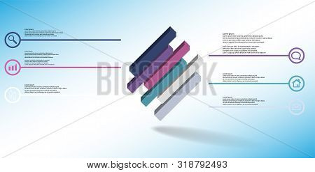 3D Illustration Infographic Template With Embossed Cube Divided To Six Shifted Parts Askew Arranged