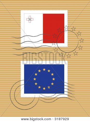 Malta And European Union - Stamps With Flag