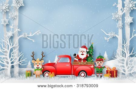Origami Paper Art Of Christmas Red Truck With Santa Claus, Reindeer And Elf, Merry Christmas And Hap