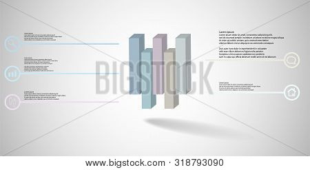 3D Illustration Infographic Template With Embossed Cube Vertically Divided To Five Shifted Parts
