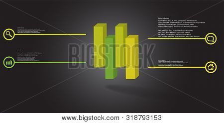 3D Illustration Infographic Template With Embossed Cube Vertically Divided To Four Shifted Parts