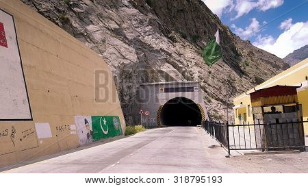 Very Long Tunnel Attabad Tunnel In The Mountains Of Korakoram Highway At Attabad Lake, Hunza, Gilgit