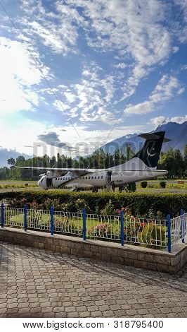 Plane Standing At The Runway After Landing, At Beautiful Airport Of Gilgit Baltistan, Pakistan 15/08