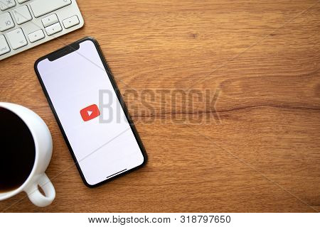 Anapa, Russia - August 1, 2019: Iphone X With Multinational Entertainment Company Google Provides St