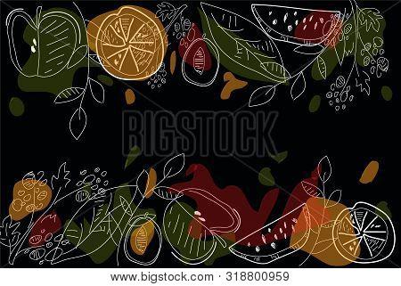 Fruits Top View Frame. Farmers Market Menu Design. Healthy Food Poster. Vintage Hand Drawn Sketch, V