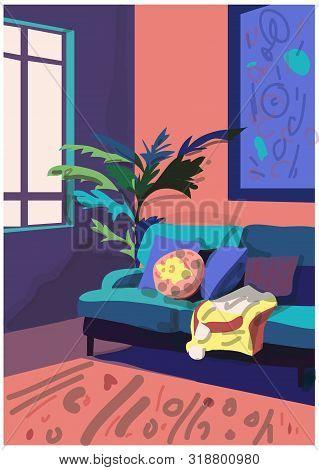 Vector Interior Design Illustration. Furniture Collection Elements. Mood Board Of Interior Design. M