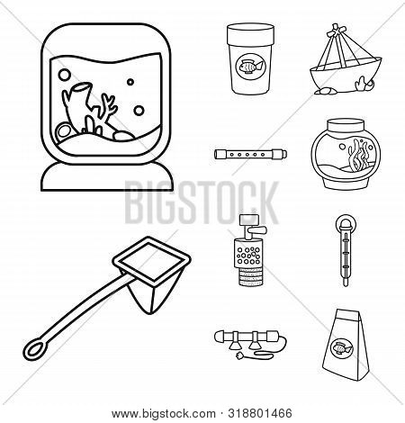 Vector Design Of Fishbowl And Accessory Sign. Collection Of Fishbowl And Care Vector Icon For Stock.