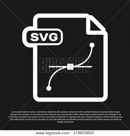 Black Svg File Document. Download Svg Button Icon Isolated On Black Background. Svg File Symbol. Vec
