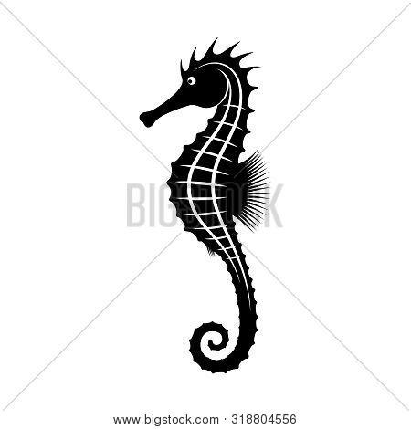 Seahorse Graphic Icon. Sea Life Symbol. Black Silhouette Seahorse Isolated On White Background. Seah