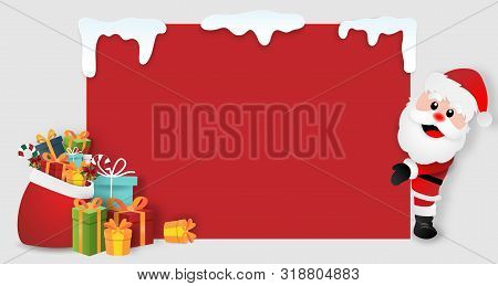 Origami Paper Art Of Santa Claus With Christmas Gifts, Copy Space Blank Background, Merry Christmas