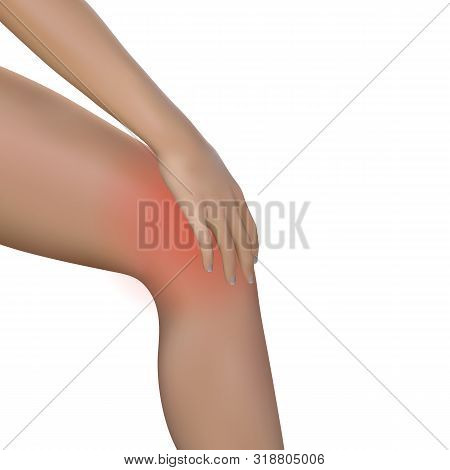 Young Woman Massaging Her Painful Knee. Young Girl Or Woman Holding Her Knee Because Of Severe Pain