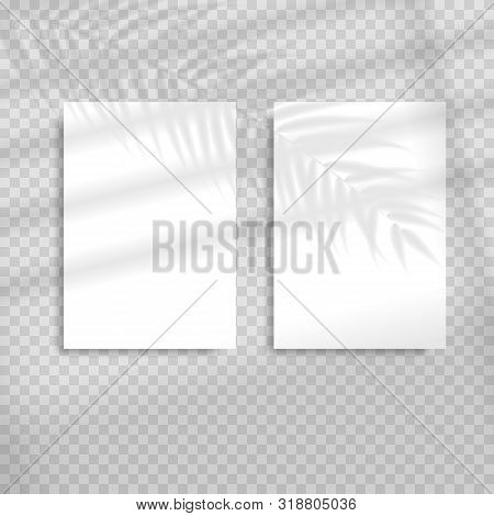 Transparent Shadow Overlay Effects For Branding. Blank Vertical Paper Sheet With Shadow Overlay. Sce