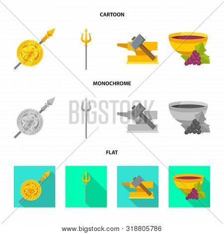 Vector Design Of Deity And Antique Symbol. Collection Of Deity And Myths Vector Icon For Stock.