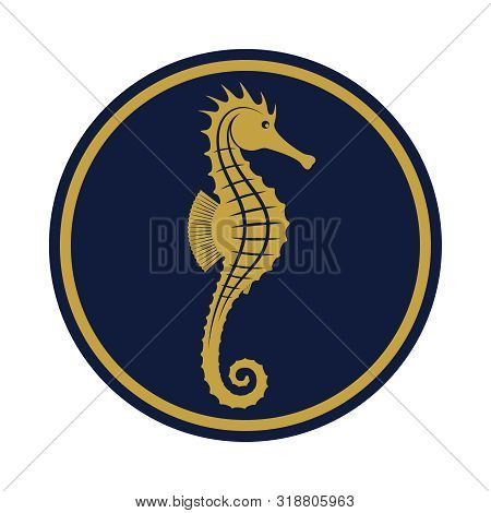 Seahorse Icon. Seahorse Sign In The Blue Circle Isolated On White Background. Sea Life Symbol. Vecto