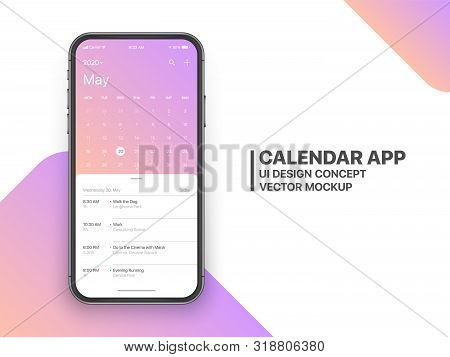 Calendar App Concept May 2020 Page with To Do List and Tasks UI UX Design Mockup Vector on Frameless Smartphone Screen Isolated on White Background. Planner Application Template for Mobile Phone