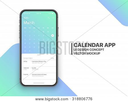 Calendar App Concept March 2020 Page with To Do List and Tasks UI UX Design Mockup Vector on Frameless Smartphone Screen Isolated on White Background. Planner Application Template for Mobile Phone