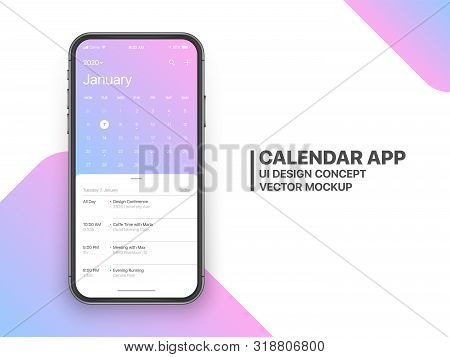 Calendar App Concept January 2020 Page with To Do List and Tasks UI UX Design Mockup Vector on Frameless Smartphone Screen Isolated on White Background. Planner Application Template for Mobile Phone