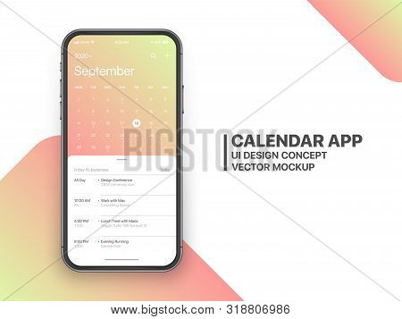 Calendar App Concept September 2020 Page with To Do List and Tasks UI UX Design Mockup Vector on Frameless Smartphone Screen Isolated on White Background. Planner Application Template for Mobile Phone