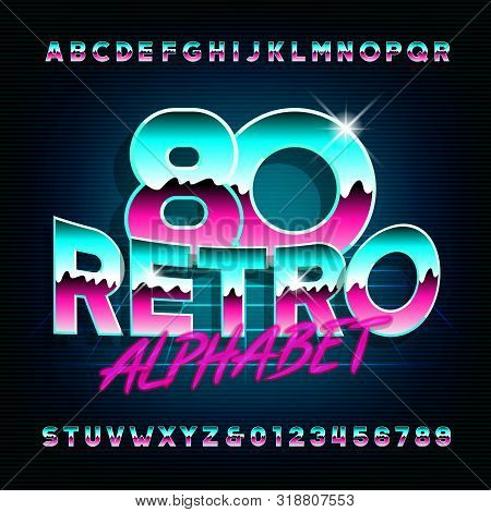 80s Retro alphabet font. Shiny letters and numbers on dark background. Stock vector typescript for your typography in retro 80s style. poster