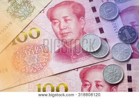Close Up Of Mao Tse Tung Of China Yuan Banknote. Yuan Is The Main Exchange Currency In The World.