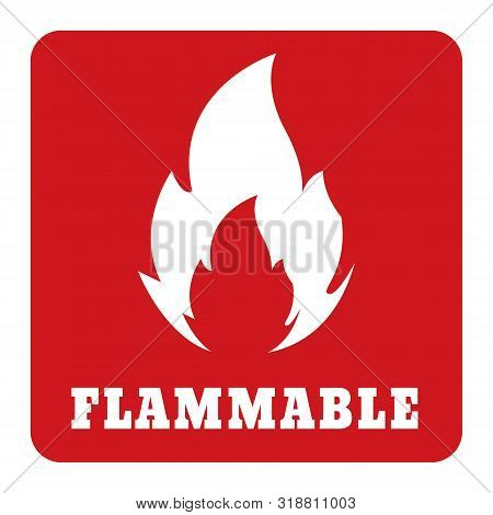 Flammable Icon Red Sign Label.flammable Icon On Red Background Drawing By Illustration.flammable Sym