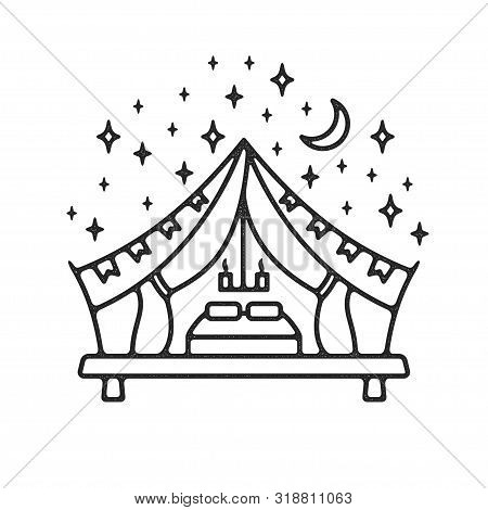 Glamping Tent Grunge Logo. Textured Label With Fashion Tent Under Night Sky. Modern Recreation On Na