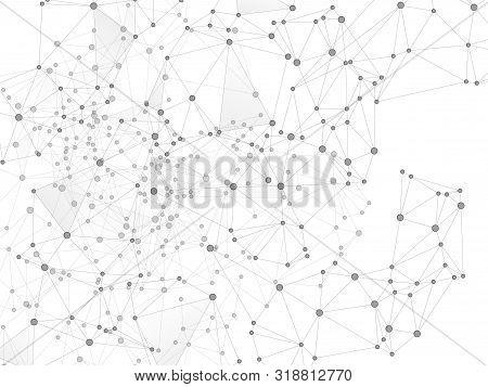 Social Media Communication Digital Concept. Network Nodes Greyscale Plexus Background. Global Social