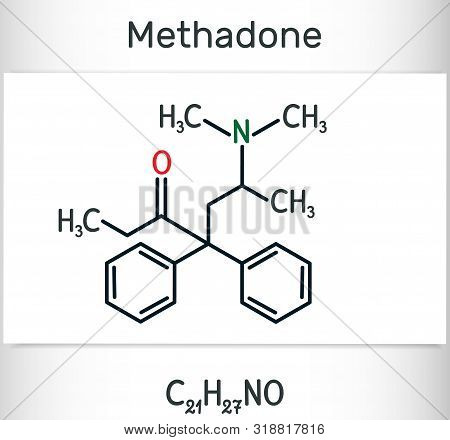 Methadone, Dolophine Molecule. It Is An Opioid, Is Used As An Analgesic, In The Treatment Of Drug Ad