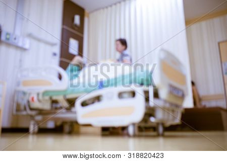 Abstract Blur Modern Hospital Beds, Hospital Rooms, Doctors, Nurses,the Patient On The Hospital Bed,