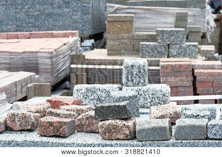 Granite Stones Are Sold In Construction Market. Construction Materials. Building Materials For Decor