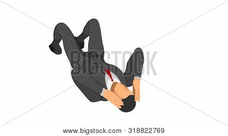 The Character Wears A Suit Lying On The Floor Holding His Head. Body Gestures Indicate Discrepancies
