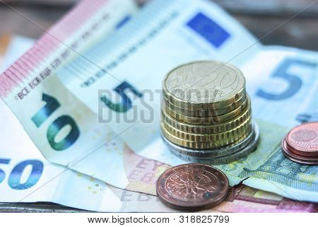 Euro Money. Euro Cash Background. Euro Money Banknotes, Euro Coins, Cents Close Up