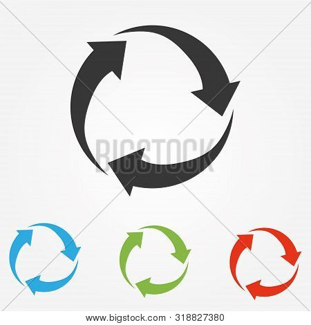 Green Arrows Recycle Eco Symbol Vector Illustration Isolated On White Background. Recycled Sign. Cyc