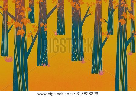 Background Of Trees And Leaves In Autumn