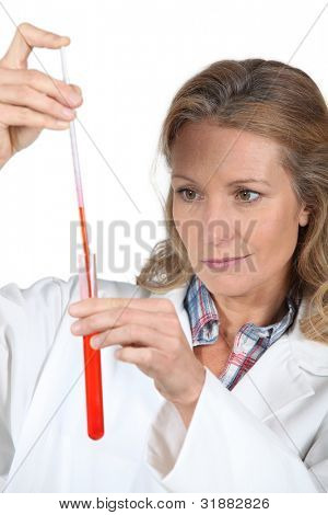 female scientist with a test tube