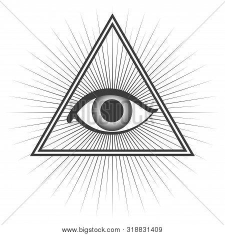 Simple Flat Vector Of Freemason Symbol Isolated On White Background