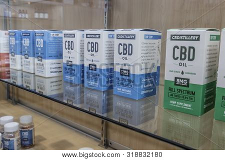 Carmel - Circa August 2019: Cbd Oil Topical Products. The Popularity Of Cbd Oil As A Medicinal Produ