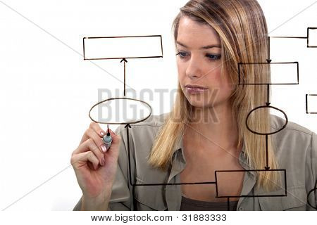 Woman drawing flow-chart