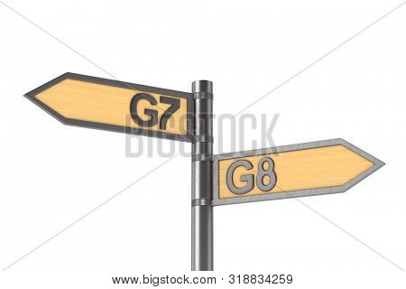 guidepost with sign G7 and G8 group on white background. Isolated 3D illustration