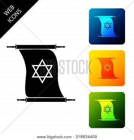 Torah Scroll Icon Isolated On White Background. Jewish Torah In Expanded Form. Torah Book Sign. Star